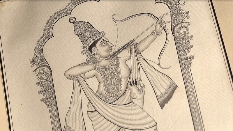Figure holding a drawn bow and arrow