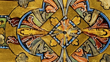 Detail from the illuminated Cnut Gospels.