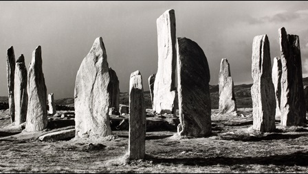 Monochrome photograph by Fay Godwin of Callanish stone circle after a hailstorm; Lewis, 1980
