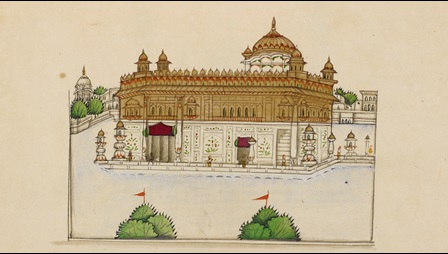 A watercolour painting of the Harimandir or 'Temple of God', situated in Amritsar in the Indian Panjab, executed by an anonymous artist in the Panjab style in the 1860's.