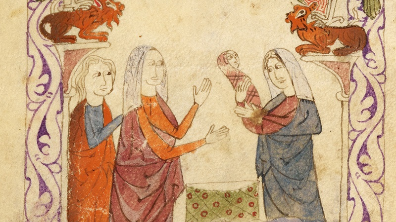 The finding of baby Moses. Illustration of three women gathered around a baby.
