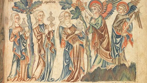 Women and angels as depicted in the Holkham Bible Picture Book, Add MS 47682, f. 35r