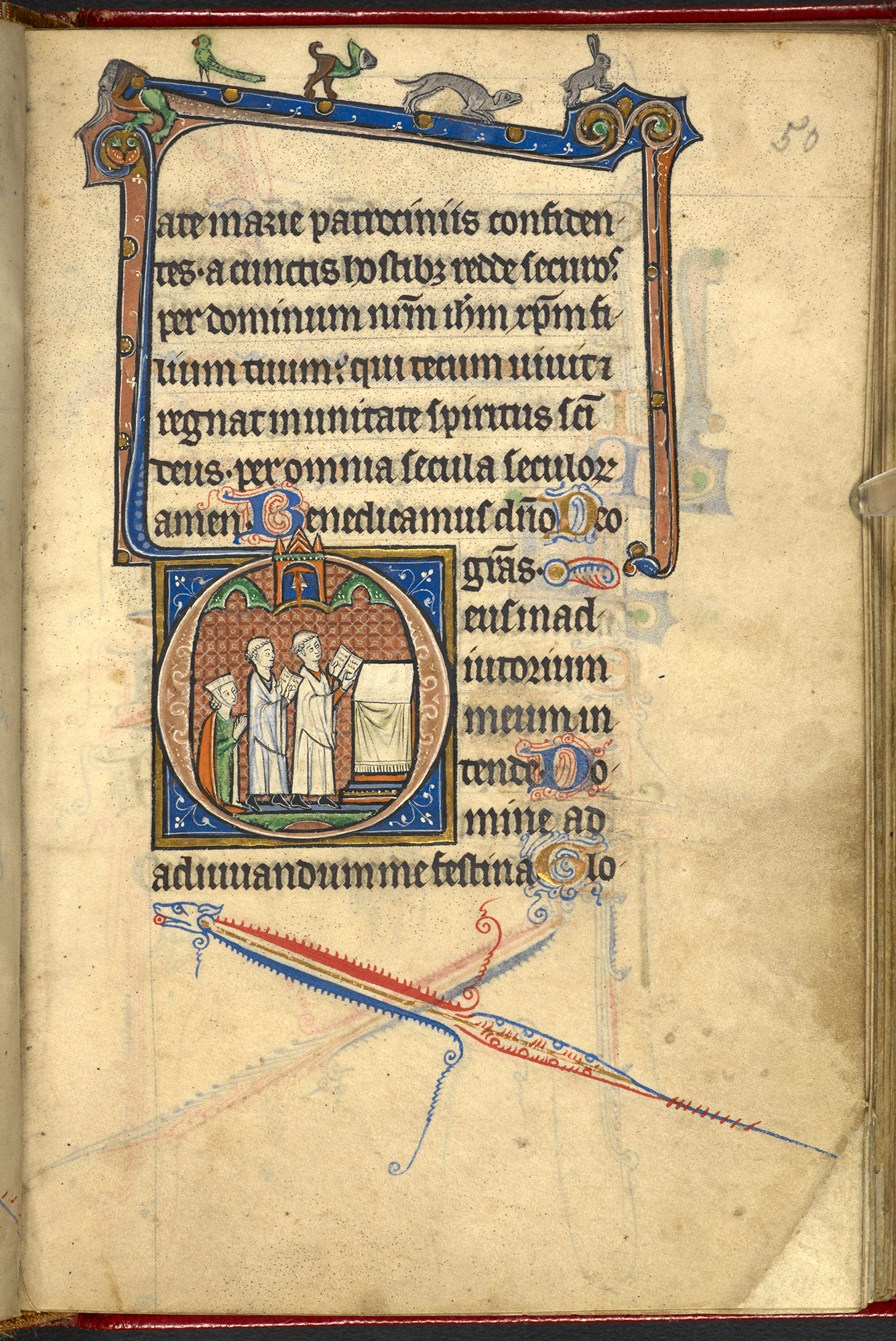 13th-century English Book of Hours. unknown woman who is represented kneeling before an altar with two clerics, f50r