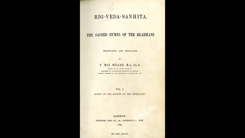 Title page of the 1869 edition of the Rig Veda Samhita by Friedrich Max Müller one of the earliest English translation of the Rig Veda hymns.