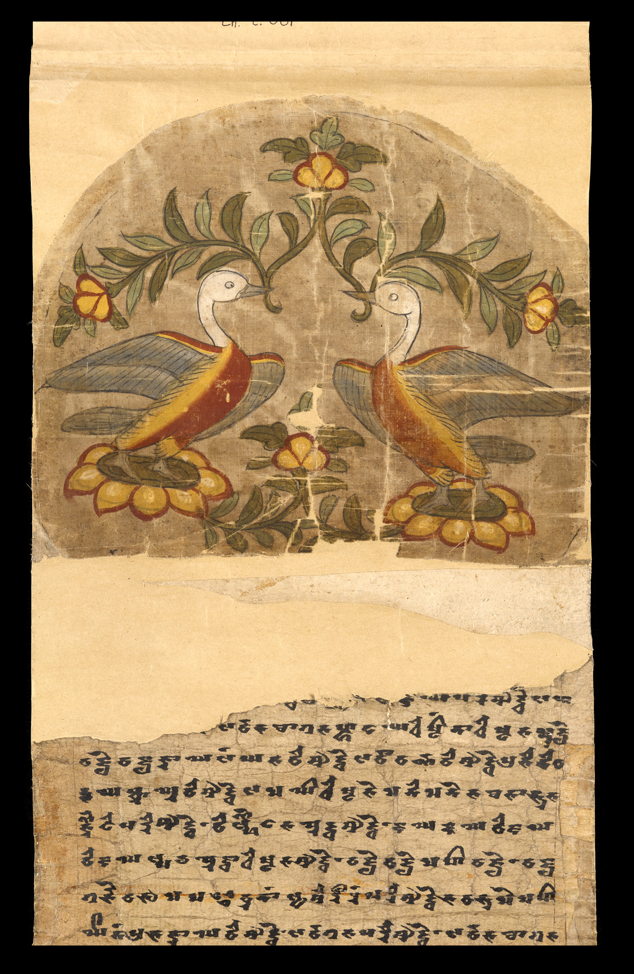 painted silk. The image represents two confronted geese standing on lotus flowers.