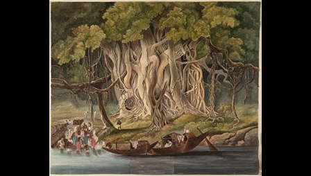 The painting shows a large banyan tree on the banks of a river. In the foreground are two boats moored in the river and a crowd of people bathing and standing on a ghat. The tree, with its dense canopy of leaves and numerous aerial roots growing down towards the ground, is the focal point of the painting.