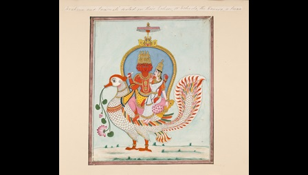 An illustration of a four faced red figure and a female figure seated on a large white bird. The bird carries a stem of pink flowers in its mouth