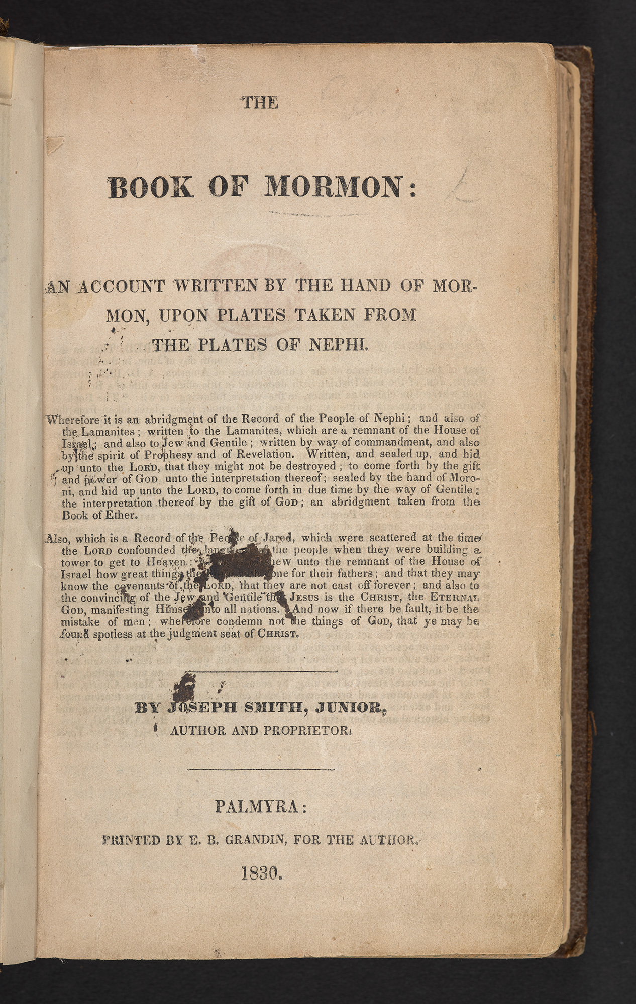title page from a 1830 edition of the Book of Mormon