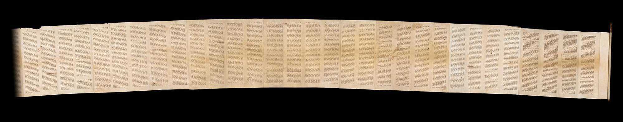 Unrolled Torah scroll from Kaifeng, China