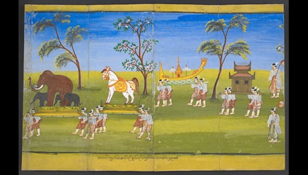 Depeictions of a procession during the Buddhist Thadingyut festival. Models of elephants, horses, a boat and a temple are carried by Royal Attendents. Or 15021, f. 23r.