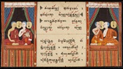Extract from the Tipitaka, a thai folding book. Double page is opened showing two images of two figures chanting, alongside text in black ink with red intonation marks.