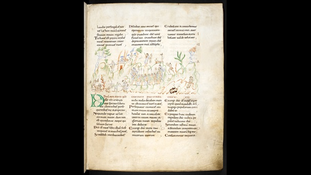Manuscript page from the Harley Psalter. Text sits in three blocks down the page, separated by an illustration of a scene full of people