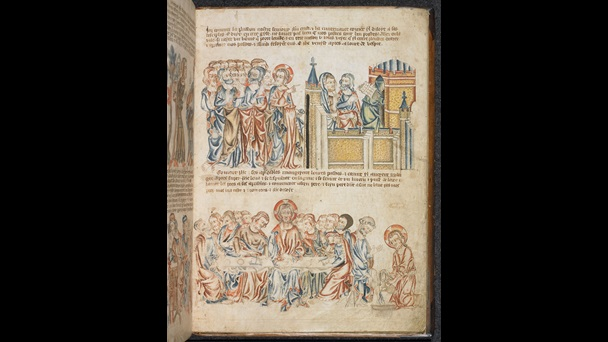 Manuscript page from the Holkham Bible Picture Book. Two illustrations represent scenes from the last supper, small passages of text adorn the page.