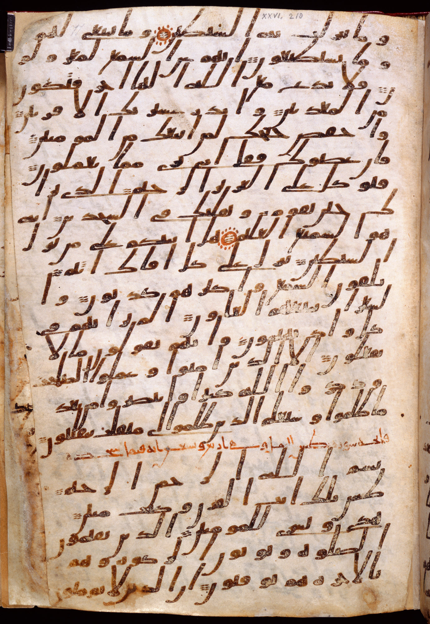8th-century Ma'il Qur'an. The caligraphy is in a black or dark brown script, sloping across the page. There is minimal decoration, apart from some small red circles that denote the end of a verse.