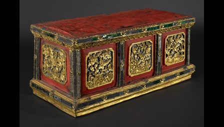 Lacquered and gilt manuscript box from Northern Thailand