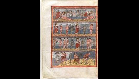 From the Moutier Grandval Bible,A full-page illustration of the Creation of Adam and Eve and the Fall, preceding the Book of Genesis