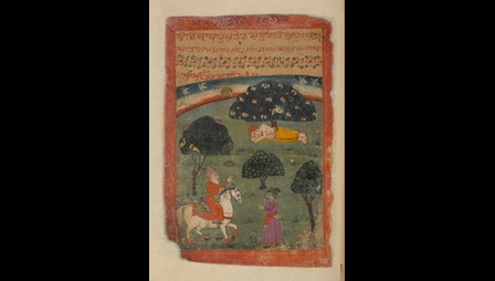 Guru Nanak beneath a tree, in the foreground a figure, mounted on horseback, speaks to a standing figure.