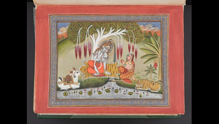 Two figures and a sacred cow beside a lake with a red border.