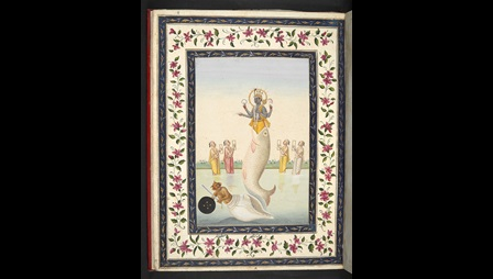 In this painting Matsya avatāra is shown in the centre, rising out of the water. The upper part of his body is blue, bejewelled and haloed, each hand bearing one of Vishnu's emblems