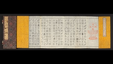 Folding paper book priinted with symbols of everyday objects in columns. When the symbols are read out (in Chinese) the sounds form the word. An English example would be to represent the word 'belief' with a picture of a bee and a leaf.