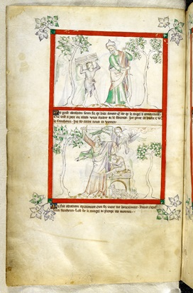 Illustrations of the Queen Mary Psalter featuring Isaac carrying firewood and on the lower half of the page the sacrifice of Isaac