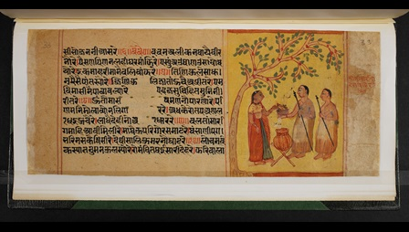 Folio from Salibhadra-caupai. Text is in a block on the left hand side of the page, an illustrations of A Jain lay woman offering food to a Jain monk is on the right.