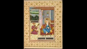 In this portrait Guru Nanak is depicted seated under a canopy. The portrait is bordered by a gold decorative border.