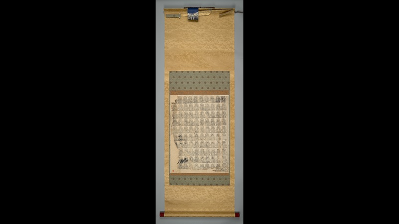 Sheet of one hundred printed images of Buddha