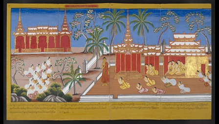 A Burmese manuscript that illustrates the Buddha's life after his Enlightenment, Or 14405. The scenes on ff. 65–66 depict the Buddha's disciples Maha-Moggallana, Bhikkhu Cunna, Bhikkhuni Patisambhidapattacira, Bhikkhuni Upalavan, his chief supporter Anatabein and lay people who come to listen the Buddha's teaching.