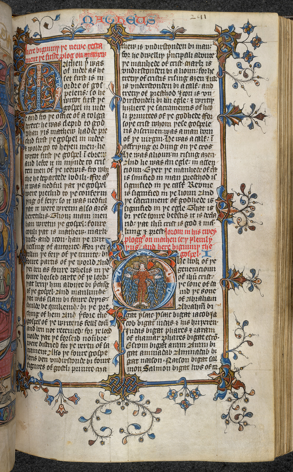 Early 15th century illuminated manuscript of the Late Version of the Wycliffite Bible, beginning of the New Testament.
