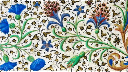 floral decoration - depictions of blue and red flowers