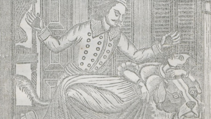 Woodcut print etched by Ramdhan Das Swarnakar, showing a sleeping princess lying on a dog's back, and a soldier with his hands raised above—scrupulously avoiding any physical contact with his beloved, but staring with angry intensity at her bosom. From Cakamaki baksa o apurbba rjabastra, a translation of Hans Andersen by Madhusudan Mukhopadhyay.
