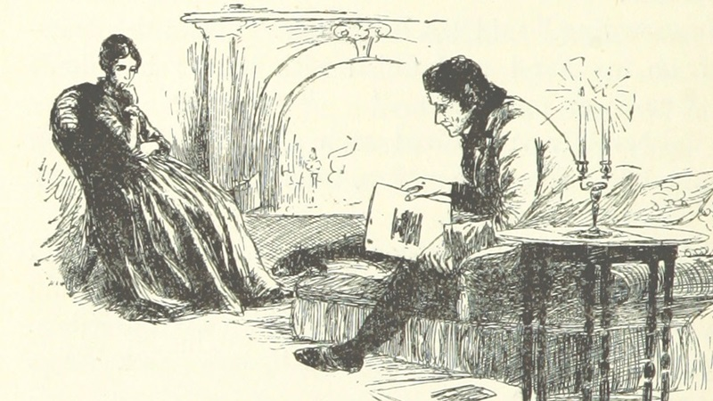 A black and white drawing showing Jane Eyre and Rochester in a living room setting, sat opposite one another, with Rochester looking at some papers he is holding