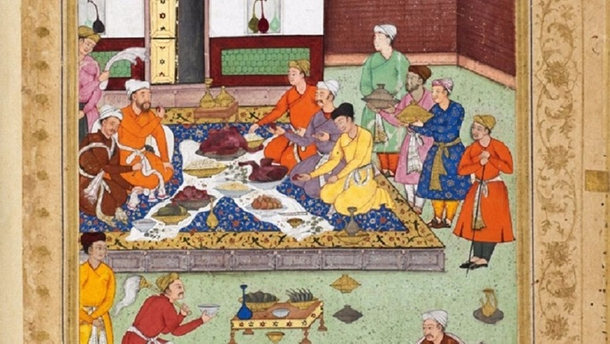 A colour illustration showing a banquet including a roasted goose given to Babur by a Timurid mirza. Artist: Tiriyya, 1507