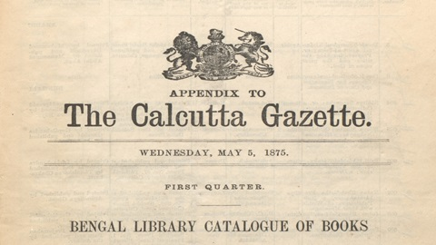 Front page to 'The Calcutta Gazette' quarterly list for the quarter ending 31 March 1875, SV 412/8