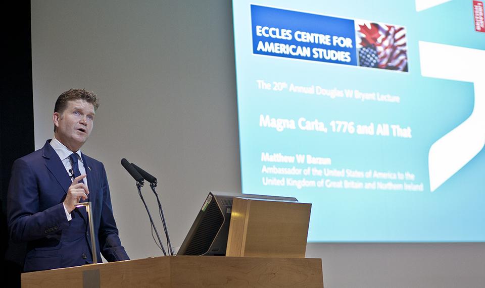Matthew Barzun delivers the 2015 Douglas W Bryant lecture
