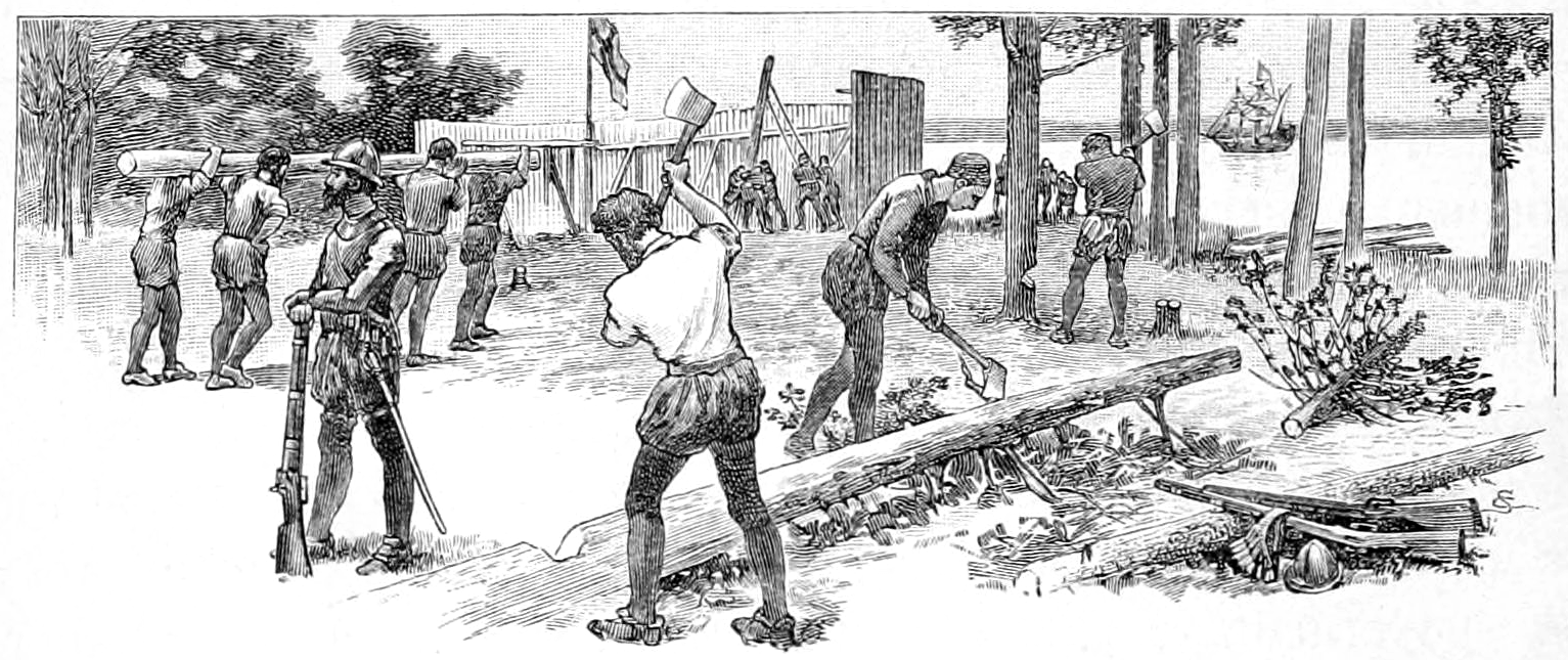 Building the Fort at Jamestown, illustration from 1910