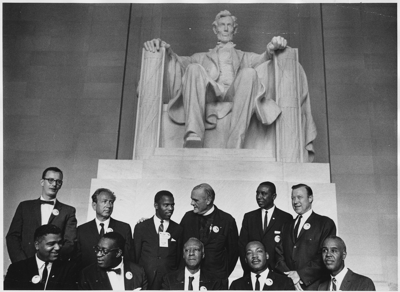 Civil Rights Leaders in front of the Lincoln Memorial