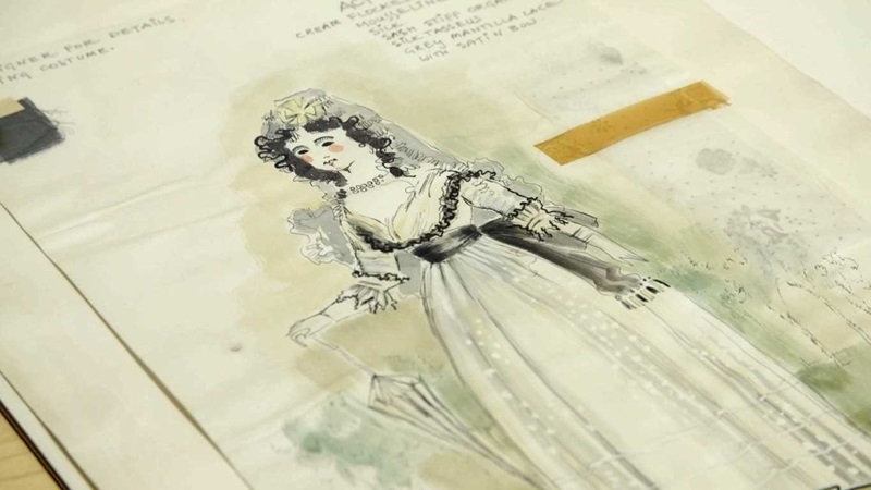 Illustration from D'Oyly Carte Opera Trusts Archive with textile samples