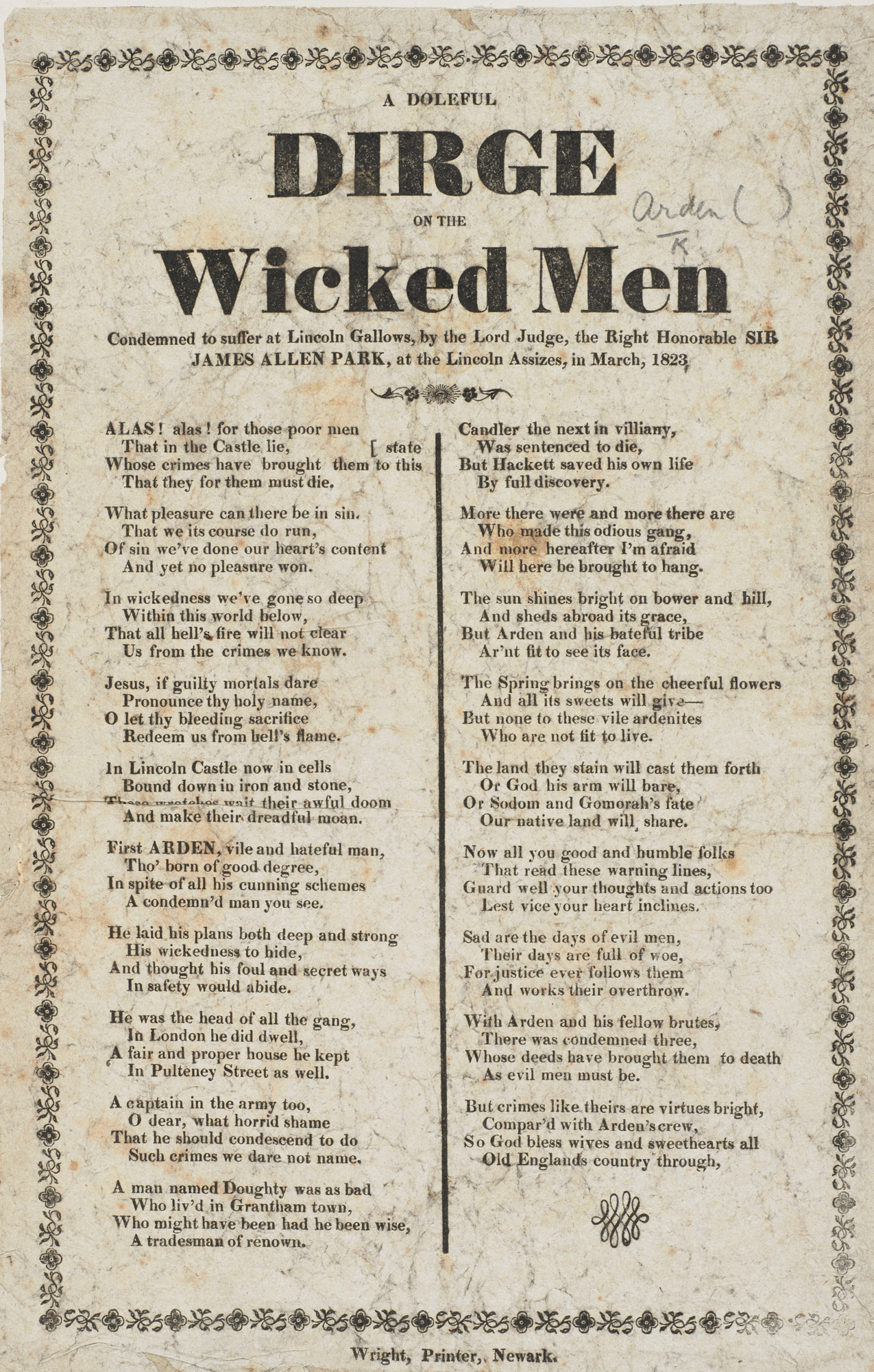 A Doleful Dirge on the Wicked Men