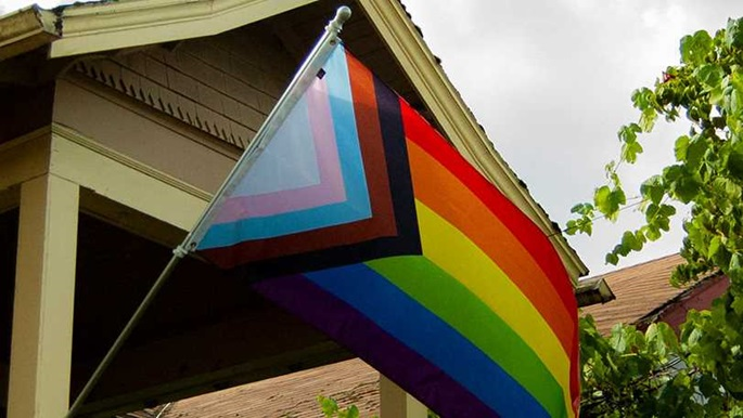 Rainbow flag outside a house