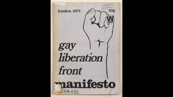 Gay Liberation Front Manifesto containing an illustration of a clenched fist