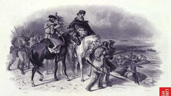 George Washington preparing to cross the Delaware river, Washington Irving