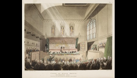 19th-century colour illustration of a trial in Westminster Hall, London, depicting a judge, lawyers and other court personnel, all in wigs and gowns, and the defendent and a gallery of the public on the right