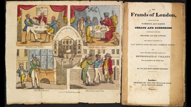A double-spread title page including an 19th-century colour illustration divivided into four main sections with a depiction of the 'Sessions House Old Bailey' in the centre. The remaining four sections contain illustrations of fraudulent crimes, entitled 'The Fortune Teller', 'The Gaming Table', 'The Pick Pocket' and 'The Sailor and Jew'.