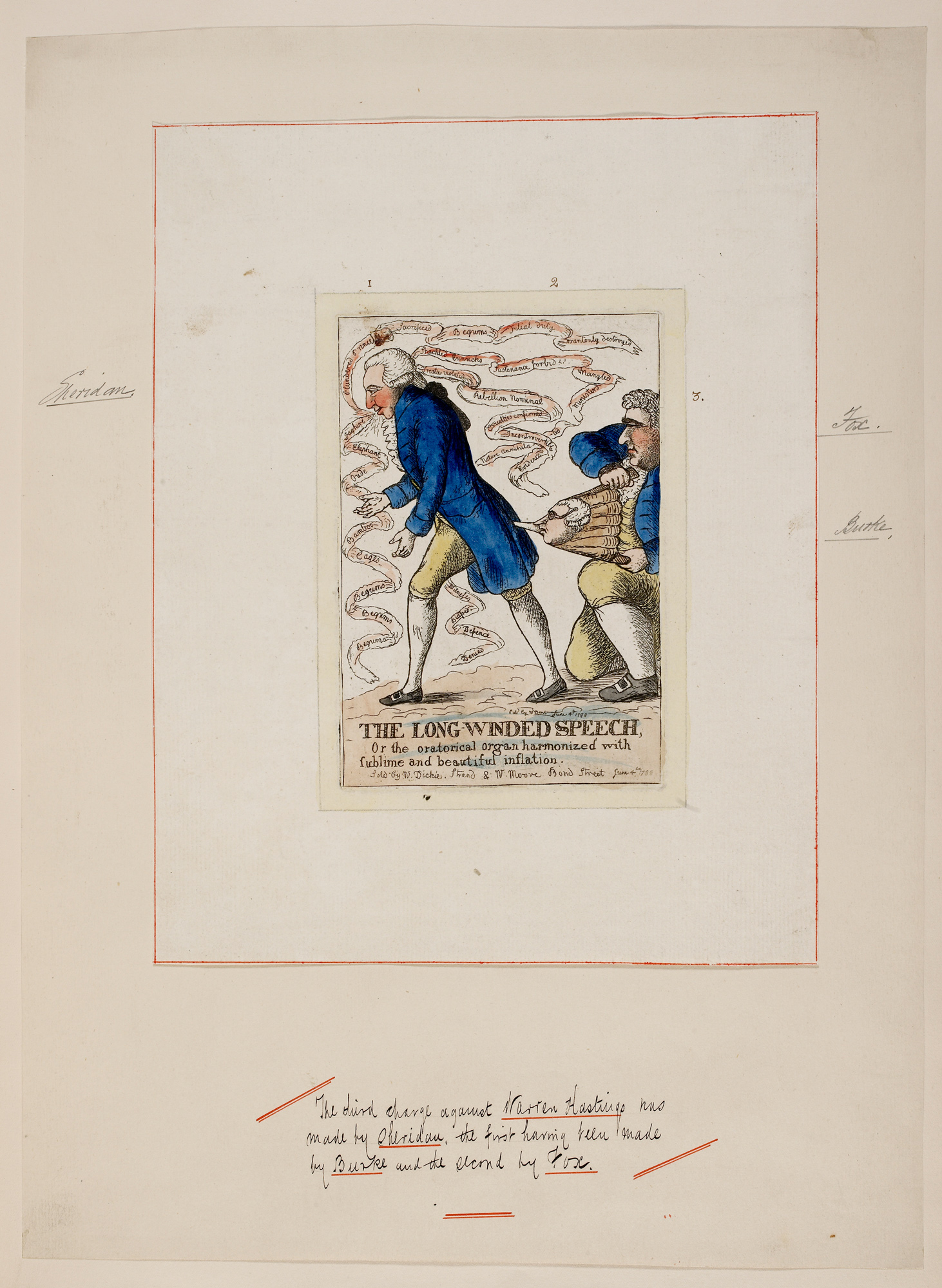 Caricature satirising the 'long-winded speech' of Whig politician Richard Brinsley Sheridan, 1788