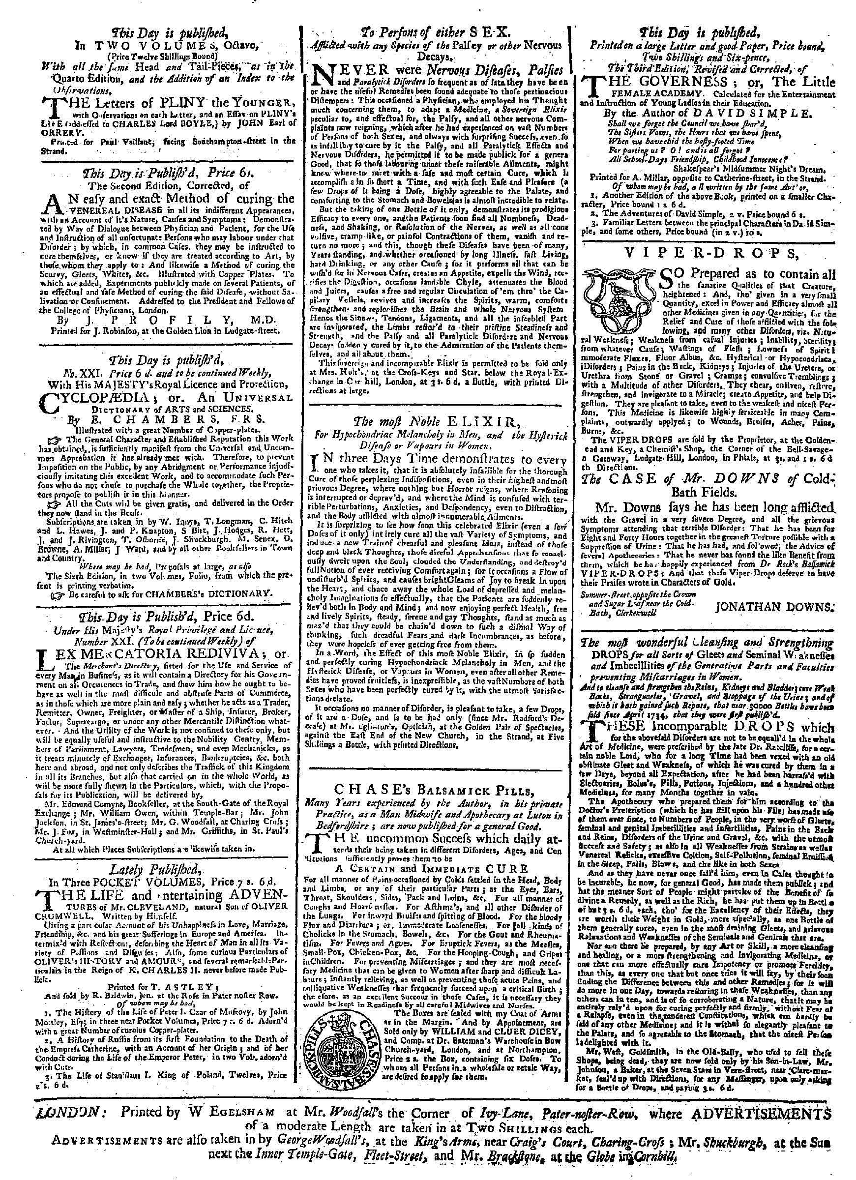 Advertisements for quack doctors' potions from the General Advertiser