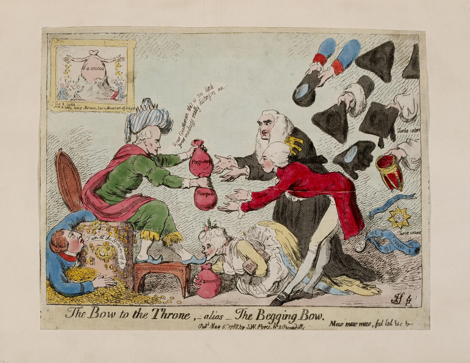 A satirical cartoon showing the wealth made from colonial rule in India, 1788