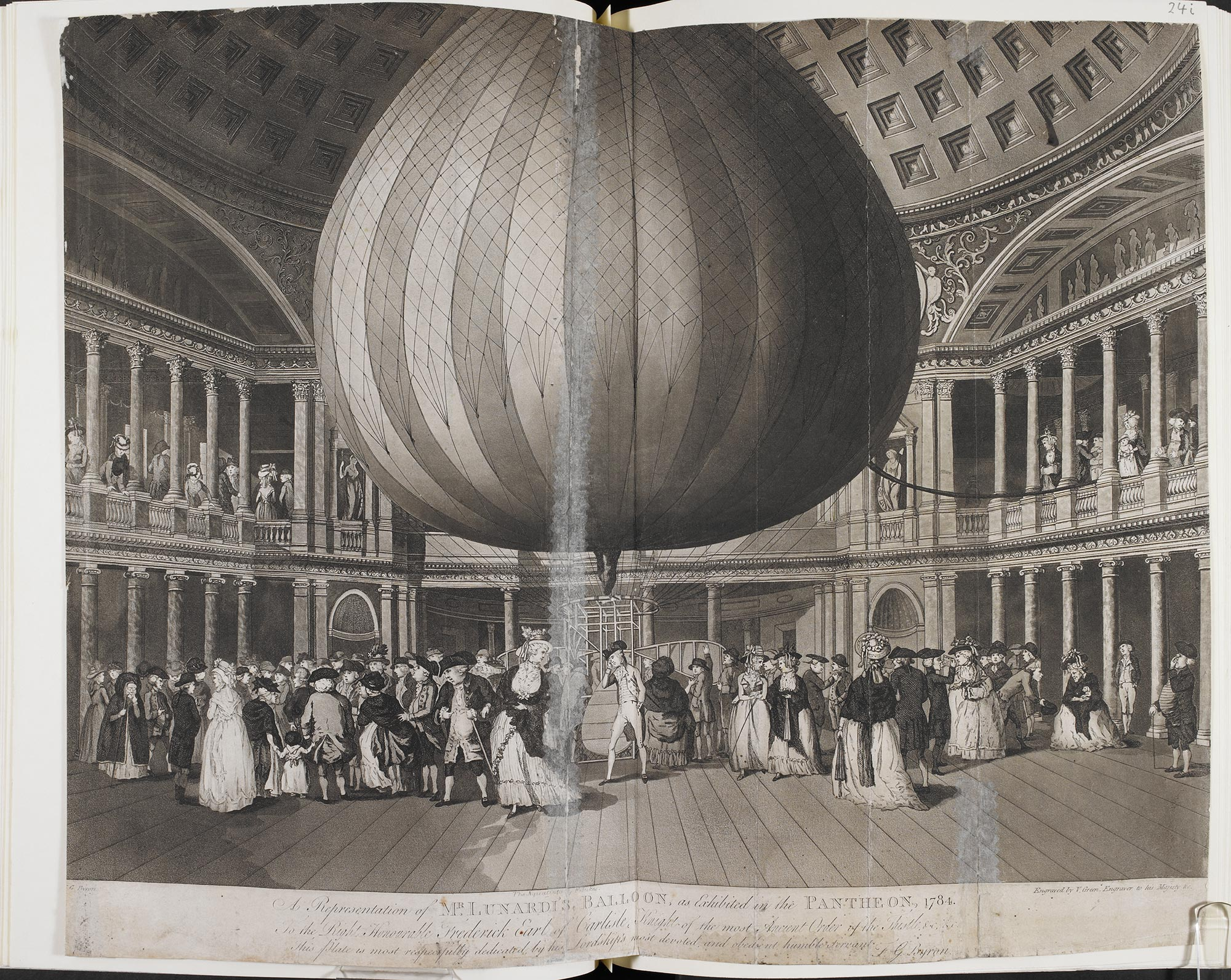 A Representation of Mr Lunardi's Balloon, as Exhibited in the Pantheon, 1784