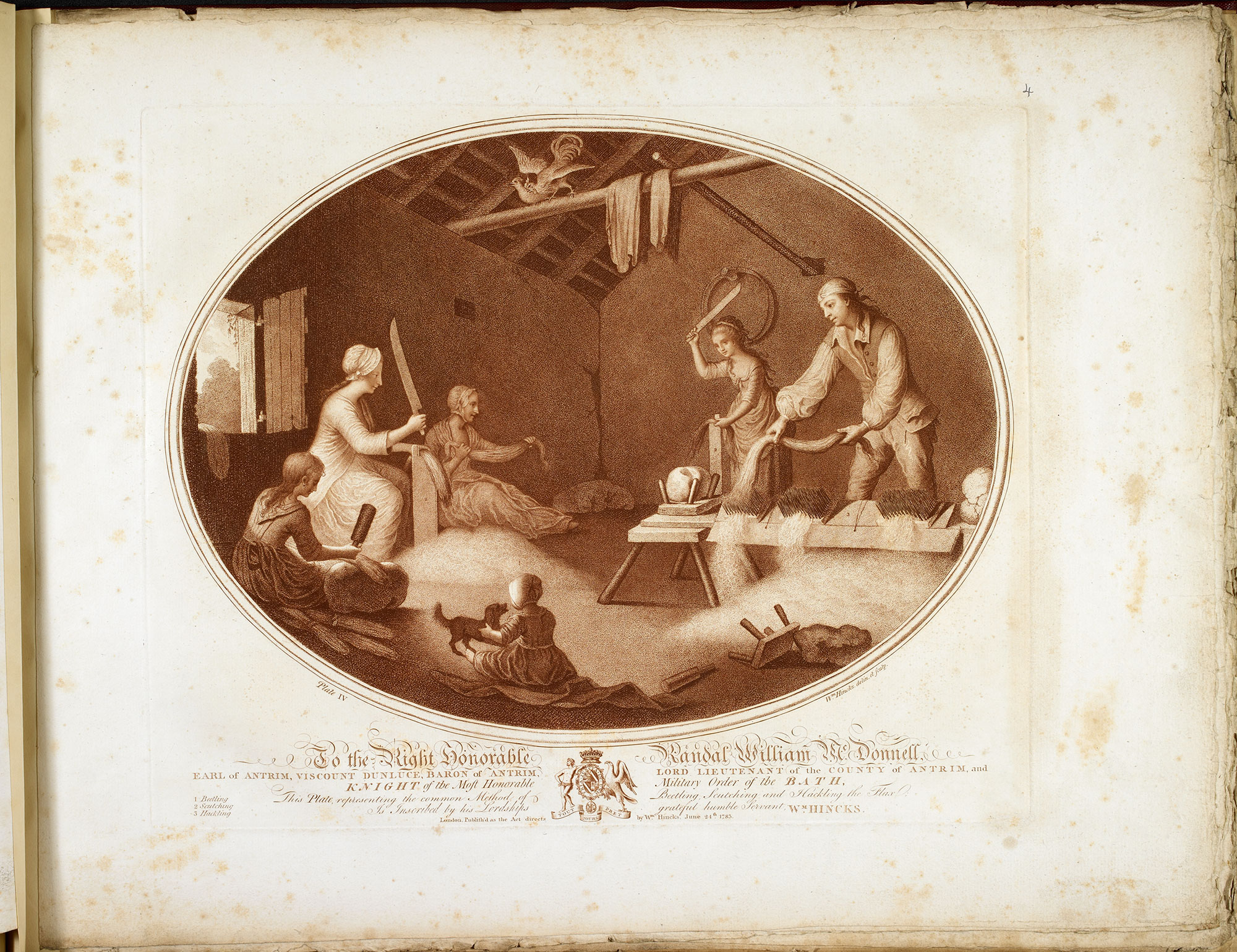 Two illustrations of 18th century textile production